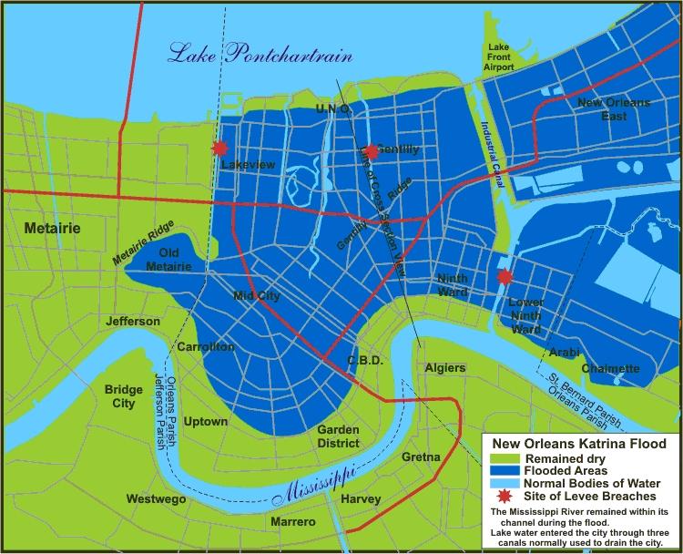 new orleans flooding katrina map Hurricane Katrina The Geography new orleans flooding katrina map